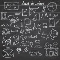 Back to School Supplies Sketchy Notebook Doodles set with Lettering, Hand-Drawn Vector Illustration Design Elements on Lined Sketchbook on chalkboard background