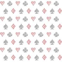 Hand drawn sketched Playing cards symbol seamless pattern, poker, blackjack background, doodle hearts diamonds spades and clubs symbols vector