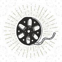 Cinema tape and film reel vintage label, Hand drawn sketch, grunge textured retro badge, typography design t-shirt print, vector illustration
