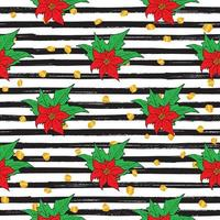 New Year and Christmas hand drawn plants stripped seamless pattern. Vector Illustration.