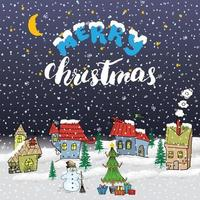Merry Christmas Hand drawn doodle with small houses, snowman and christmas tree with gift boxes. Christmas greeting card or invitation design template. Vector illustration