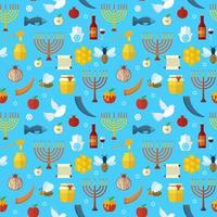 Rosh Hashanah, Shana Tova seamless pattern vector illustration.