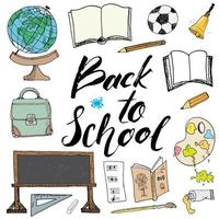 Back to School lettering quote, vector illustration.