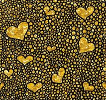 Hand drawn dotted seamless gold glitter pattern. brush herts and dots seamless pattern, vector illustration