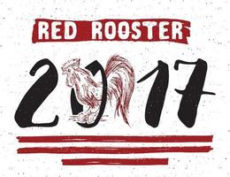 Red rooster or cock symbol of 2017 year. Hand drawn sketch vector illustration.