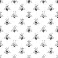 abeja dibujada a mano de patrones sin fisuras, ilustración de vector de fondo monocromo