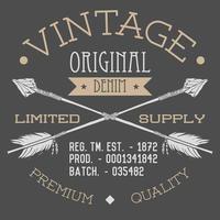 T-shirt Printing design, typography graphics, Vintage original denim vector illustration with crossed arrows hand drawn sketch. Retro style Badge Applique Label