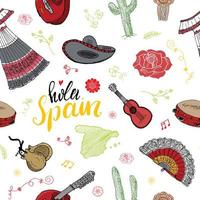 Spain seamless pattern doodle elements, Hand drawn sketch spanish traditional guitars, dress and music instruments, map of spain and lettering - hola spain. vector illustration background