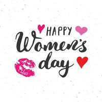 Happy Women's Day Hand letterings set. Holiday grunge textured retro design greeting cards vector illustration