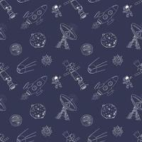 Space doodles icons seamless pattern. Hand drawn sketch with meteors, Sun and Moon, radar, astronaut and rocket. vector illustration