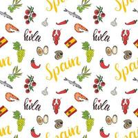Spain seamless pattern doodle elements, Hand drawn sketch spanish food shrimps, olives, grape, flag and lettering. vector illustration background.
