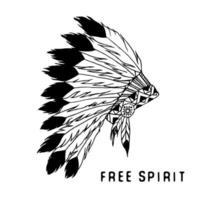 tocado tradicional nativo americano con plumas de ave y abalorios. leyenda tribal en estilo indio, ilustración vectorial, letras de espíritu libre. aislado vector