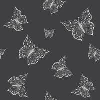 Butterfly seamless pattern. Ornamental hand drawn sketched vector illustration