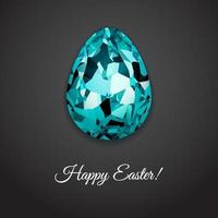 Happy Easter greeting card design with creative crystal easter egg on dark background and sign Happy Easter, vector illustration