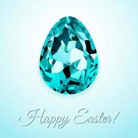 Happy Easter greeting card design with creative crystal easter egg on light background and sign Happy Easter, vector illustration