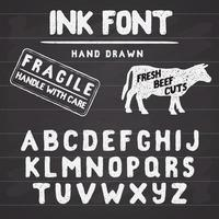 Hand Made Ink stamp font. Handwritten alphabet. Vintage retro textured hand drawn typeface with grunge effect, good for custom logo or emblrm. Vector illustration. on chalkboard background