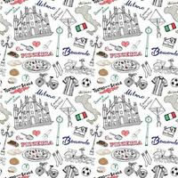 Milan Italy seamless pattern with Hand drawn sketch elements Duomo cathedral, flag, map, pizza, transport and traditional food. Drawing doodle vector illustration, isolated on white