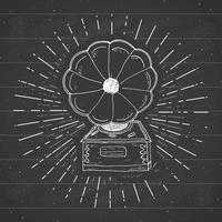 Gramophone vintage label, Hand drawn sketch, grunge textured retro badge, typography design t-shirt print, vector illustration on chalkboard background