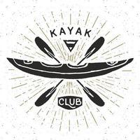 Kayak club vintage label, Hand drawn sketch, grunge textured retro badge, typography design t-shirt print, vector illustration