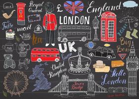 London city doodles elements collection. Hand drawn set with, tower bridge, crown, big ben, royal guard, red bus, UK map and flag, tea pot, lettering, vector illustration on chalkboard