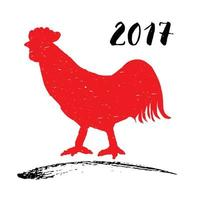 Vector illustration of a red rooster or cock silhouette, symbol of Chinese new year 2017.