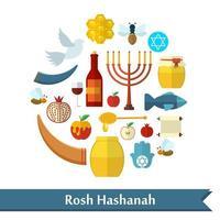 Rosh Hashanah, Shana Tova flat vector icons set