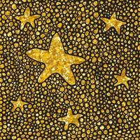 Hand drawn dotted seamless gold glitter pattern. brush stars and dots seamless pattern, vector illustration