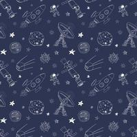 Space doodles icons seamless pattern. Hand drawn sketch with meteors, Sun and Moon, radar, astronaut rocket and stars. vector illustration