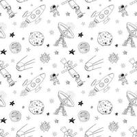 Space doodles icons seamless pattern. Hand drawn sketch with meteors, Sun and Moon, radar, astronaut rocket and stars. vector illustration isolated