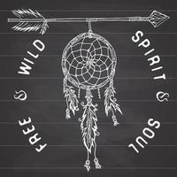 atrapasueños y flechas, leyenda tribal en estilo indio con atrapasueños tradicional con plumas de pájaro y cuentas. ilustración vectorial, letras espíritu y alma libres y salvajes. en la pizarra. vector