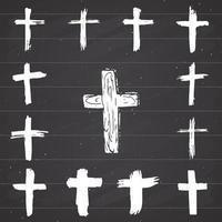 Conjunto de símbolos cruzados dibujados a mano de grunge. cruces cristianas, iconos de signos religiosos, ilustración de vector de símbolo de crucifijo