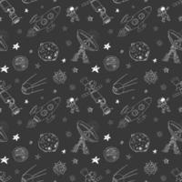 Space doodles icons seamless pattern. Hand drawn sketch with meteors, Sun and Moon, radar, astronaut rocket and stars. vector illustration on chalkboard