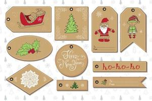 Set of New Year gift tags vector template, Hand drawn Sketch elements with Lettering set. Present cards design of happy new year 2016. Doodles and festive elements,  Vector Illustration