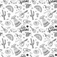 elementos de doodle de patrones sin fisuras de españa, bocetos dibujados a mano guitarras tradicionales españolas, instrumentos musicales y de vestimenta, mapa de españa y letras - hola españa. fondo de ilustración vectorial vector