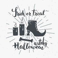 Etiqueta vintage de tarjeta de felicitación de Halloween, elementos de bruja de boceto dibujados a mano, insignia retro con textura grunge, estampado de camiseta de diseño de tipografía, ilustración vectorial vector