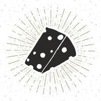 etiqueta vintage de queso, boceto dibujado a mano, insignia retro con textura grunge, estampado de camiseta de diseño de tipografía, ilustración vectorial vector