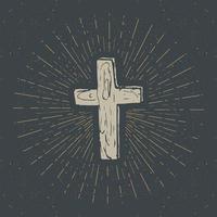 Vintage label, Hand drawn Christian cross, religious sign, crucifix symbol grunge textured retro badge, typography design t-shirt print, vector illustration.