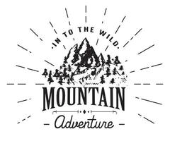 Mountains handdrawn sketch emblem. outdoor camping and hiking activity, Extreme sports, outdoor adventure symbol, vector illustration isolated on white background