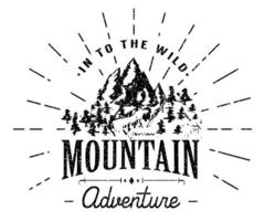 Mountains handdrawn sketch emblem. outdoor camping and hiking activity, Extreme sports, outdoor adventure symbol, vector illustration on mountain landscape background