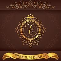 Letter E. Luxury Logo template flourishes calligraphic elegant ornament lines. Business sign, identity for Restaurant, Royalty, Boutique, Hotel, Heraldic, Jewelry, Fashion, vector illustration