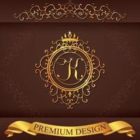 Letter K. Luxury Logo template flourishes calligraphic elegant ornament lines. Business sign, identity for Restaurant, Royalty, Boutique, Hotel, Heraldic, Jewelry, Fashion, vector illustration