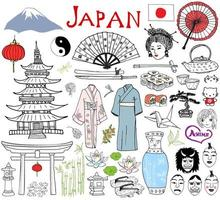 Japan doodles elements. Hand drawn sketch set with Fujiyama mountain, Shinto gate, Japanese food sushi and tea set, fan, theater masks, katana, pagoda, kimono. Drawing collection, isolated on white vector