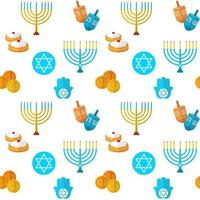 Happy Hanukkah vector seamless pattern, with dreidel game, coins, hand of Miriam, palm of David, star of David, menorah, traditional food, torah and other traditional items