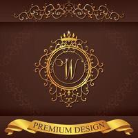 Letter W. Luxury Logo template flourishes calligraphic elegant ornament lines. Business sign, identity for Restaurant, Royalty, Boutique, Hotel, Heraldic, Jewelry, Fashion, vector illustration