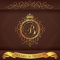 Letter B. Luxury Logo template flourishes calligraphic elegant ornament lines. Business sign, identity for Restaurant, Royalty, Boutique, Hotel, Heraldic, Jewelry, Fashion, vector illustration