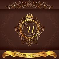 Letter U. Luxury Logo template flourishes calligraphic elegant ornament lines. Business sign, identity for Restaurant, Royalty, Boutique, Hotel, Heraldic, Jewelry, Fashion, vector illustration