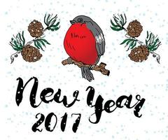 New year 2017 lettering. Hand drawn vector illustration with bird and pine tree branches.