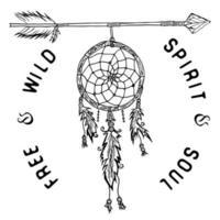 atrapasueños y flechas, leyenda tribal en estilo indio, atrapasueños tradicional con plumas de aves y cuentas. ilustración vectorial, letras espíritu y alma libres y salvajes. aislado vector