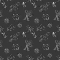 Space doodles icons seamless pattern. Hand drawn sketch with meteors, Sun and Moon, radar, astronaut and rocket. vector illustration on chalkboard