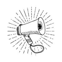 megáfono o megáfono, altavoz, boceto dibujado a mano sobre rayos de sol vintage retro. ilustración vectorial aislado en blanco. vector